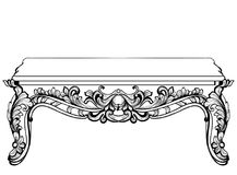 Imperial Baroque Console Table. French Luxury carved ornaments decorated table furniture. Vector Victorian Royal Style vector illustration