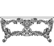 Imperial Baroque Console Table. French Luxury carved ornaments decorated table furniture. Vector Victorian Royal Style Stock Photo