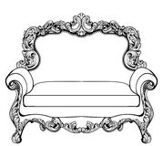 Imperial Baroque couch with luxurious ornaments. Vector French Luxury rich intricate structure. Victorian Royal Style Stock Images
