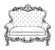 Imperial Baroque couch with luxurious ornaments. Vector French Luxury rich intricate structure. Victorian Royal Style Royalty Free Stock Photos
