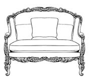 Imperial Baroque couch with luxurious ornaments. Vector French Luxury rich intricate structure. Victorian Royal Style Royalty Free Stock Images