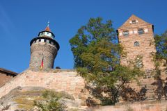Imperial Castle of Nuremberg, Germany. Seen from the street on a bright sunny day in early Fall stock images