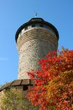 Imperial Castle of Nuremberg, Germany. Seen from the street on a bright sunny day in early Fall with colorful leaves on a tree stock images