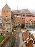 Imperial Castle of Nuremberg in wintertime. Panoramic view from the hill to the medieval Imperial Castle of Nuremberg in wintertime, Germany stock image