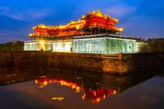 Imperial City in Hue, Vietnam. Imperial City entrance gate in Hue in Vietnam at sunset stock image