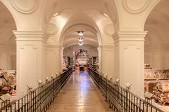 The Imperial Crypt at New Market in Vienna Austria. The Imperial Crypt, also called the Capuchin Crypt, is a burial place of the Habsburgs in Vienna stock photography