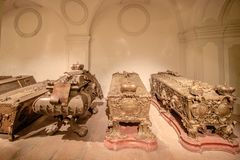 The Imperial Crypt at New Market in Vienna Austria. The Imperial Crypt, also called the Capuchin Crypt, is a burial place of the Habsburgs in Vienna royalty free stock photos