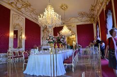 Imperial dinner table in the palace in Vienna Royalty Free Stock Photos