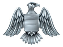 Imperial Eagle Shield Coat of Arms. An eagle silver metal shield heraldic heraldry coat of arms design Stock Photography