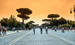 Imperial Fora (Fori Imperiali) urban scene in Rome Royalty Free Stock Images