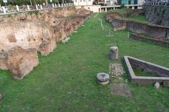 The Imperial Fora in Rome, Italy. Rome, Italy - October 31, 2018: The Imperial Fora Fori Imperiali in Italian, monumental fora public squares were the center of royalty free stock images