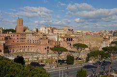 Imperial Fora, Via dei Fori Imperiali. Imperial Forum and Trajan Market right in the centre of Rome Stock Photo