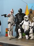 Imperial forces. A Star Wars Stormtrooper (in Endor moon's armor), a republican clone, a tie pilot and a sabbipode at the Movieland park in 2011-04-30 for the Royalty Free Stock Photos