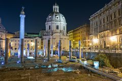 Imperial Forum in Rome. Beautiful night image of the eternal city Royalty Free Stock Photos