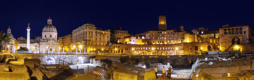 Imperial Forum and Trajan's column in Rome Stock Photography