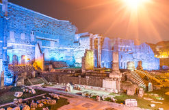 Imperial Forums by night in Rome Royalty Free Stock Photo