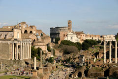 Imperial forums in Rome stock images