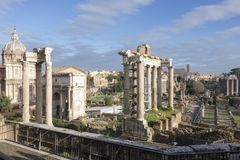 Imperial Forums in Rome. The historic archaeological site of the imperial forums of ancient Rome Stock Photos