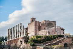 Imperial Forums in Rome, theater and church in Rome capital, Italy. Imperial Forums in Rome, theater and church in Rome capital, Italian imperial forums riuns royalty free stock image
