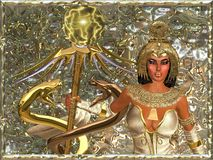 Imperial Goddess,Close Up. Imperial Goddess - holding a scepter with two gold snakes and a mystical power sphere she is a citadel for the truth and she resides Stock Images
