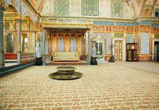 Imperial Hall and the throne of Sultan with historical interior of Topkapi palace, UNESCO World Heritage Site Royalty Free Stock Image