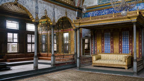 Imperial Hall with the throne of sultan in Topkapi Royalty Free Stock Photo