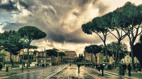 The imperial horns of Rome after a strong thunderstorm. Photo with hyfone iso 64 3,9 mm f 2,8 t 1/157 stock photos