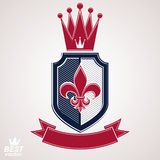 Imperial insignia, vector royal shield with decorative band and Royalty Free Stock Photo