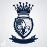 Imperial insignia, vector royal shield with decorative band and Stock Photography