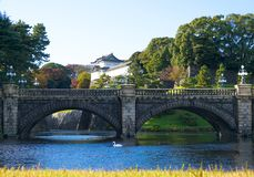 Imperial palace building in Tokyo, Japan. Bridge to the Imperial Palace in Tokyo Stock Photos