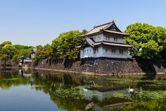 Imperial Palace castle in Tokyo. Imperial Palace castle and fortress with reflection on the pond, Tokyo, Japan royalty free stock photo