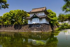 Imperial Palace castle with reflection. Imperial Palace castle and fortress with reflection on pond against blue sky, Tokyo, Japan royalty free stock photography