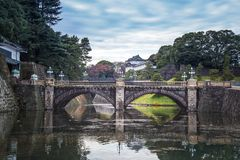 Imperial Palace of Japan with beautiful bridge and water reflection stock photo