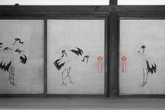 Imperial Palace - Kyoto - Japan. Cranes decorate sliding doors in the Imperial Palace in Kyoto (Japan). Des grues décorent des portes coulissantes au Palais royalty free stock photography