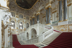 Imperial palace in Saint Petersburg with with gold walls. Saint Petersburg, Russia - 03 March 2015 : Imperial palace in Saint Petersburg with with gold walls royalty free stock images
