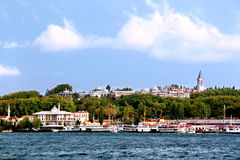 Imperial Palace Topkapi. Ottoman old palace from harbor.  Istanbul - Turkey Royalty Free Stock Image