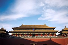 Imperial Palace under blue sky. Beijing, China. February 23, 2018: Imperial Palace of Forbidden City under blue sky Stock Images