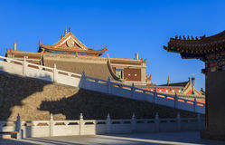 Imperial Palaces staggered. Shot in Ancient Dingyuan camp Historic Site In Inner Mongolia banner of Alashan Royalty Free Stock Photos