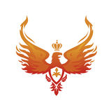 Imperial Phoenix vector image. Fiery phoenix with the Imperial crown on his head Royalty Free Stock Photo