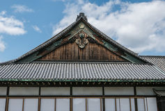 An imperial roof, part of Nijo Castle in Kyoto. Nijo Castle also known as Second Palace, Ninomaru Palace, a flatland castle founded 1679, Kyoto. Japan stock photos