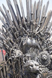Imperial, royal throne made of iron swords, seat of the king, sy Stock Image