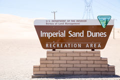 Imperial Sand Dunes Sign Stock Photo