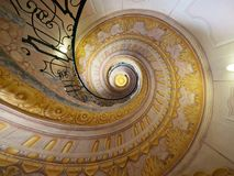 Imperial Geometric Staircase in Melk Abbey. Imperial Staircase seen from the bottem in Melk Abbey, Austria Royalty Free Stock Images