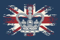 Imperial state crown on UK flag background. Royalty Free Stock Photos