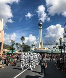 Imperial Storm Troopers at Hollywood Studios, Orlando, FL. Imperial Storm Troopers march down Main St. in Hollywood Studios, Orlando, Florida Stock Image