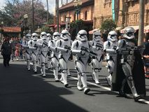 Imperial Storm Troopers at Hollywood Studios, Orlando, FL. Imperial Storm Troopers march down Main St. in Hollywood Studios, Orlando, Florida Stock Photo