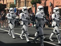 Imperial Storm Troopers at Hollywood Studios, Orlando, FL. Imperial Storm Troopers march down Main St. in Hollywood Studios, Orlando, Florida Royalty Free Stock Photos