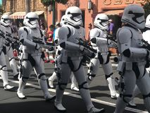 Imperial Storm Troopers at Hollywood Studios, Orlando, FL. Imperial Storm Troopers march down Main St. in Hollywood Studios, Orlando, Florida Royalty Free Stock Image