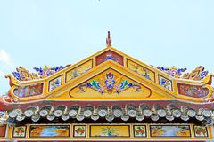 Roof Art In Hue Imperial Tomb of Tu Duc, Vietnam UNESCO World Heritage Site. The imperial tomb of Tu Duc is considered to be the most beautiful Imperial tomb of Stock Photos