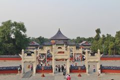 Imperial vault of heaven at Tiantan - Temple of Heaven, Beijing. Temple of Heaven is located in central Beijing. The emperor came here to pray and sacrifice. The Royalty Free Stock Images
